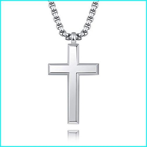 High Polish Sterling Silver Cross Necklace