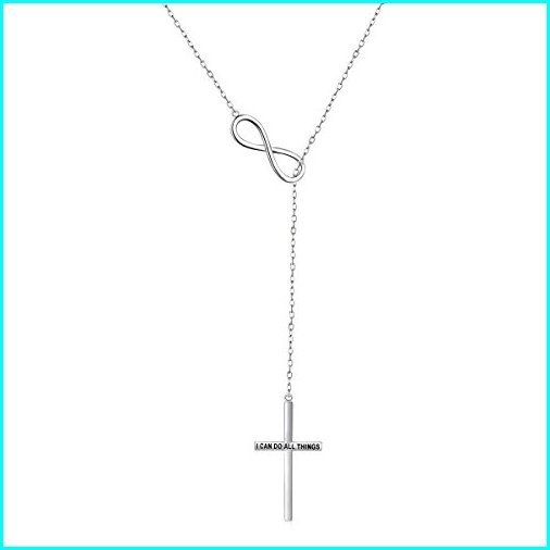 世界の JZMSJF Long Chain S925 Sterling Silver Infinity Cross Pendant Adjustable Y Shaped Necklace Engraved I CAN DO All Things, ミナミツルグン 3537d998
