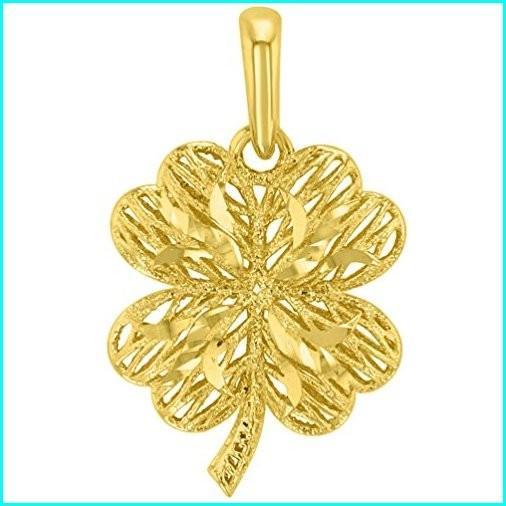 【アウトレット☆送料無料】 Textured 14k Yellow Gold Puffed 3-D Four Leaf Clover Pendant, ベーグルワン 9c41ce4c