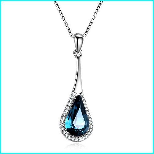 2019高い素材  AOBOCO 925 Sterling Silver Teardrop Necklace with Swarovski Crystals Jewelry for Women, 直輸入SHOP e-コレクション 4d248564
