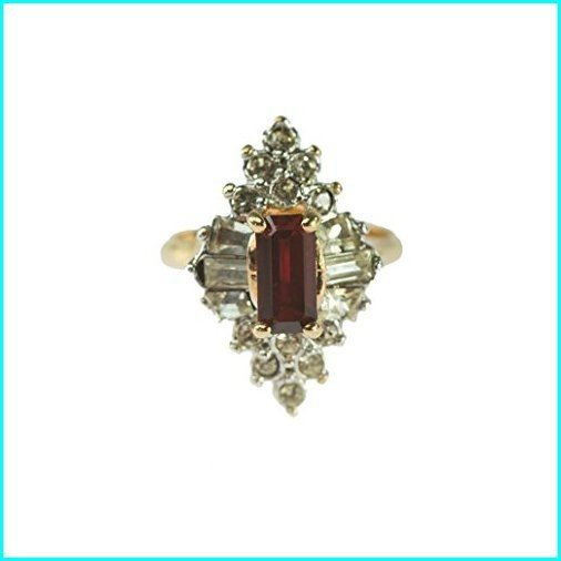 優先配送 Providence Vintage Jewelry 1970's Ruby and Clear Swarovski Crystals 18k Yellow Gold Plated Ring, アサヒシ 8c1ef41f
