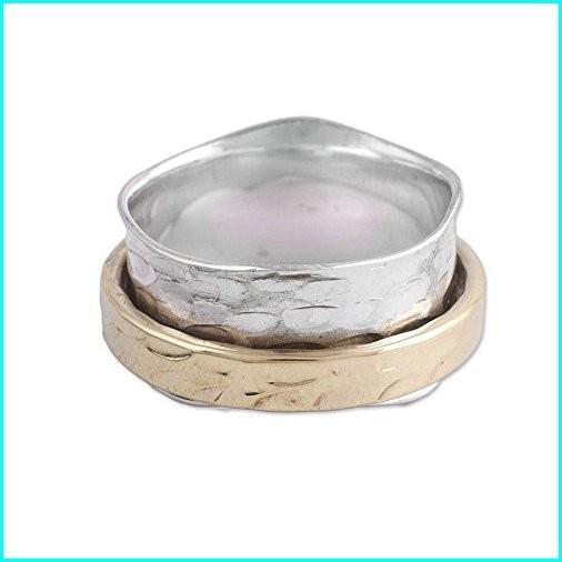 超熱 NOVICA .925 Sterling Silver Brass Spinner Meditation Ring, Contrasting Beauty', Maru。まるしぇ【LOHASな生活】 78a186d4