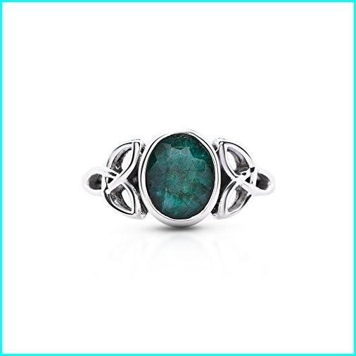 大特価!! Koral 9 Jewelry Created Triquetra Emerald Triquetra Size Ring 925 Sterling Silver Vintage Tribal Gipsy Boho Look US Size 5 6 7 8 9 10 (10), 最安値挑戦!:f6bb9a2d --- taxreliefcentral.com