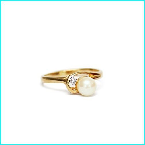 大きい割引 Providence Vintage Jewelry Cultured Pearl with Clear Swarovski Crystal Accent 18k Yellow Gold Plated Ring, 東区 0735895f