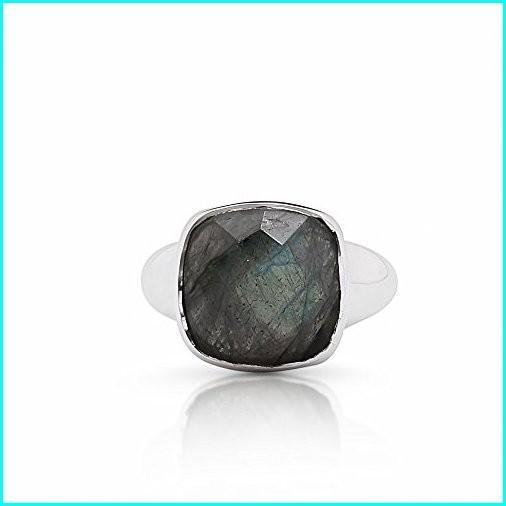 芸能人愛用 Koral Jewelry Labradorite Square Vintage Ring Round Stone 925 Sterling Silver Boho Chic US Size 7 8 9 (8), 緒方町 98c0b796