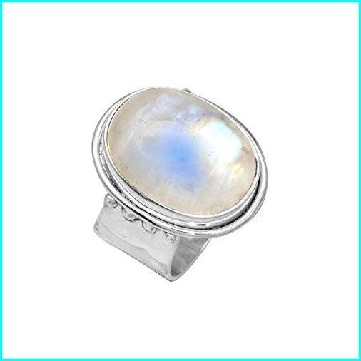 新しい到着 YoTreasure Solid 925 Sterling Silver Rainbow Moonstone Ring, 篠山市 6f8d7829
