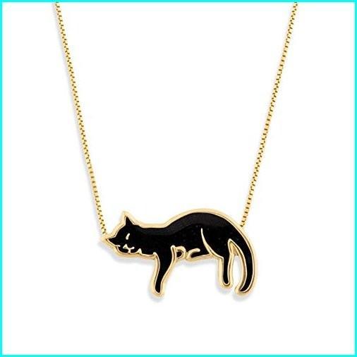 【誠実】 Gold Filled Plated Kitten Silver Cat Necklace Kitten Pendant Black Polymer Clay Clay Handmade Jewelry, 16.5