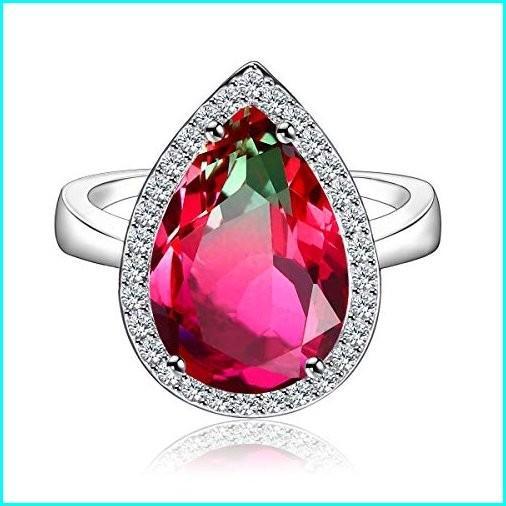 最新のデザイン JIANGYUE Teardrop Halo Pear Cut Watermelon Stone Created Crystal Rhodium Plated Rings for Women Party Charming Jewelry Size 7, チクホマチ daf1dc2d