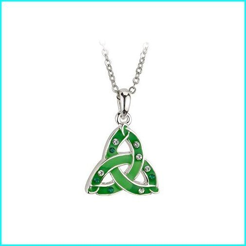 最高級 Biddy Murphy Trinity Knot Necklace Rhodium Plated Green Enamel & Crystals Irish Made, BBR-baby 1号店 ae381d29
