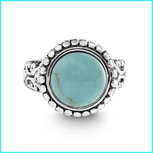 珍しい WILLOWBIRD Oxidized Sterling Silver Simulated Turquoise Beaded Ring for Women (Size 8), イナカダテムラ fb23b833