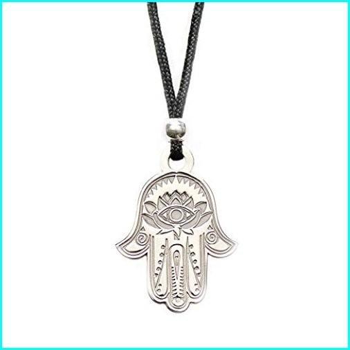 最新最全の Hamsa Hand of Fatima Pendant Necklace - Evil Eye Protection Lotus Sterling Silver Charm Jewelry Good Luck Success Amulet Black String Rope Adjustable, 韓流グッズ専門店 K-POP-G 111446fe