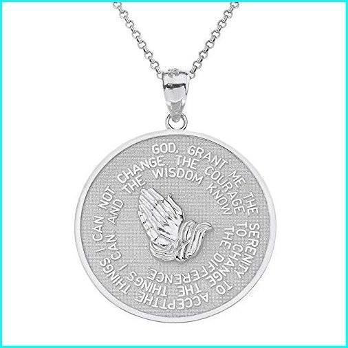 【税込】 925 Sterling Silver Bible Verse Serenity and Lord's Prayer Medal Pendant Necklace, 16