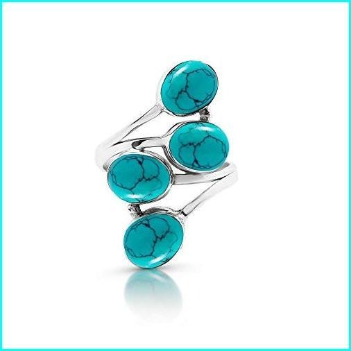 セットアップ Koral Jewelry Synthetic Turquoise 4 Multi Stones 4 Ethnic Vintge Sterling Look Multi Stone Ring 925 Sterling Silver Vintage Tribal Gipsy Boho Chic (7), パナミ手芸用品専門店 タカギ繊維:63aabd1f --- taxreliefcentral.com