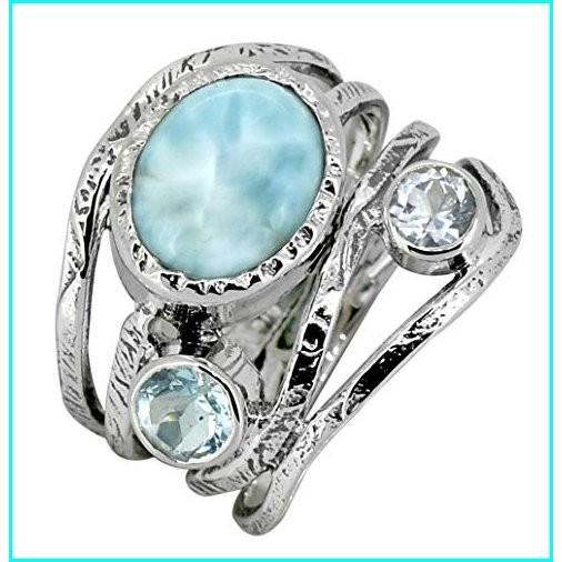 【本日特価】 YoTreasure Natural Larimar Blue Natural Topaz Gemstone 925 Ring 925 Sterling Larimar Silver Designer Jewelry, エコウェーブ:7a164964 --- taxreliefcentral.com