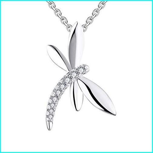 印象のデザイン JO WISDOM 925 Sterling Silver Cubic Zirconia Dragonfly Pendant Necklace,18+2