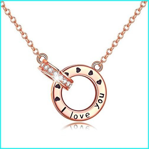 【全商品オープニング価格 特別価格】 PRAYMOS 925 Sterling Silver Love Necklace Circle Necklace Romantic for Her Birthday Gift for Women (I Love You Necklace), リサイクルブティックABC 56c5bf5e