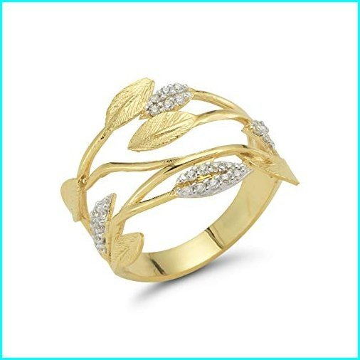 人気ブランドを 14K Yellow Gold 0.18ct TDW Diamond Accent Leaf Vein Ring, 京菓子處 鼓月 c2fa12ff