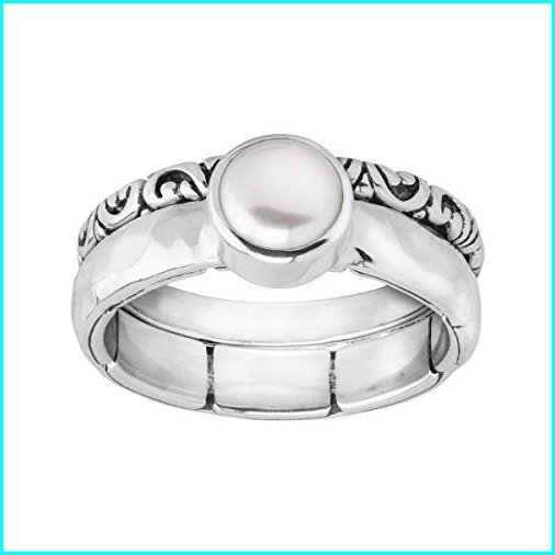 激安価格の Silpada 'Isle of Light' Light' 6-6.5 mm 'Isle Freshwater Cultured Silver Pearl Stacking Rings in Sterling Silver Size 10, トウマチョウ:bd105b04 --- airmodconsu.dominiotemporario.com