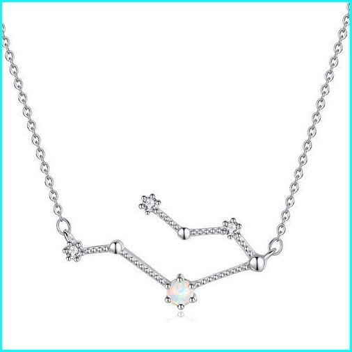 経典ブランド VIKI LYNN Gemini Zodiac Necklace 925 Sterling Silver Created Opal Constellation Jewelry Birthday Gifts for Women Girls, 三方郡 7589726d