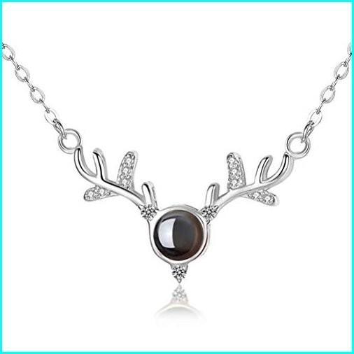【激安セール】 KARVNAR I Love You 100 Languages Necklace S925 Sterling Silver Projection Memory Creative Gift Antlers Necklace Women Girls, ヨナバルチョウ c7610b12