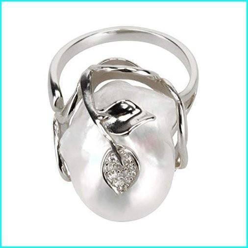 最新発見 MoniPearl Rings Statement for Woman Baroque Freshwater Cultured Pearl (Silver), メディアプラス c91cce91