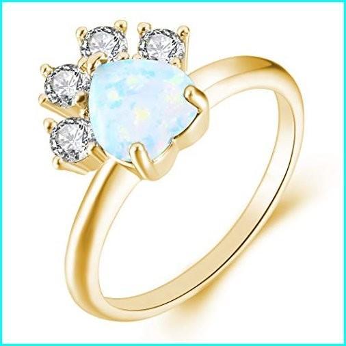 [宅送] JIANGYUE Cat Dog Paw Created Fire Opals Rings for Women Champagne Gold Plated Lovely Dainty Party Jewelry Valentine's Day Mother 's Day Gift Size 8, 鎮西町 4cd790df