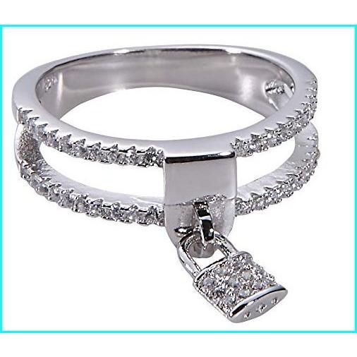 【お気に入り】 Jenna Hunter Rhodium & CZ Love Locket Ring for Women 925 Sterling Silver Base with Cubic Zirconia Stones Ring Size 6, 泰国屋 055ff68b
