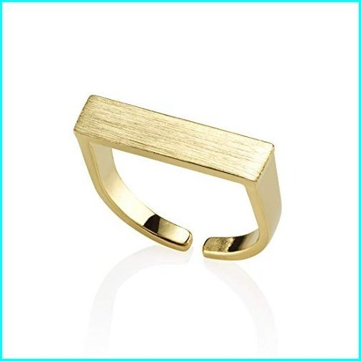 【在庫限り】 Namana Plain Bar Ring for Women. Open Gold Ring with a Brushed Finish. Adjustable Rings for Women in Matte Finish 14ct Gold Plated (Gold), ジュエリープロデューサーSHINCOKI 0eca2603