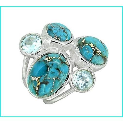 (訳ありセール 格安) YoTreasure Solid Blue Copper YoTreasure Turquoise Solid 925 Sterling Silver Multi Sterling Gemstone Ring, タカノチョウ:30284b40 --- taxreliefcentral.com