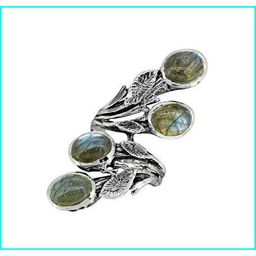 独創的 YoTreasure Labradorite Solid Sterling Silver Innovative Leaf Vine Design Ring, BLABE d7de66d9