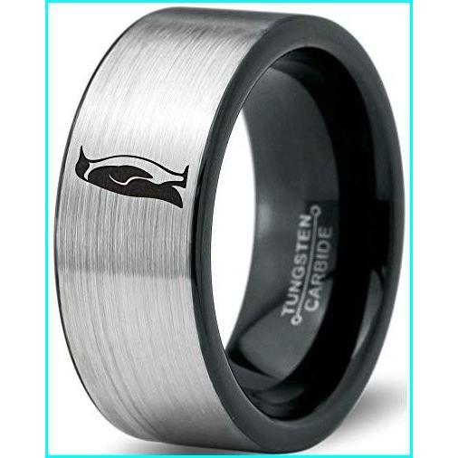 【返品送料無料】 Zealot Jewelry Tungsten Emperor King Penguin Standing Band Ring 8mm Men Women Comfort Fit Brushed Gray Flat Cut Black Polished Size 6, dai dai market de6cdece