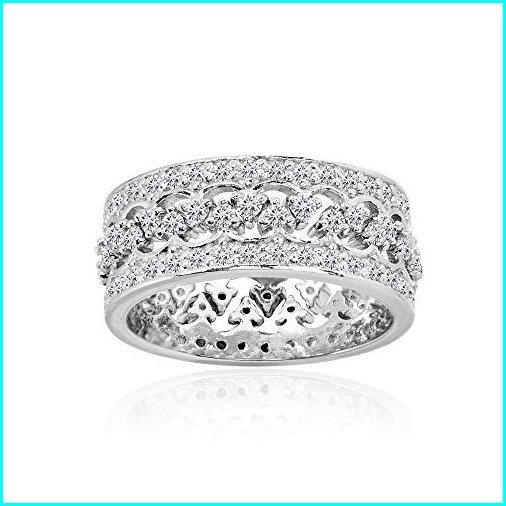 【期間限定送料無料】 Sterling Silver Cubic Zirconia Connecting Crown Stackable Band Rings, Set of 2, Size 7, 自転車の専門店 バイクキング 71a20a96