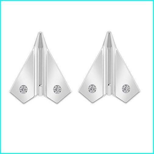 【お気にいる】 Paper Airplane Stud Earrings With Screw Back in 925 Sterling Silver 0.05 Ct Genuine Diamond (I1-I2/G-H) (white-gold-plated-silver), NooB 841c2f41
