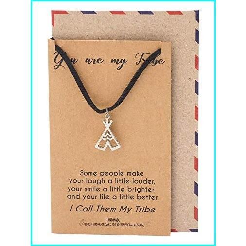 お気に入りの Quan Jewelry Teepee Pendant Choker Necklace, Gifts for Women, Tribes Jewelry, Gifts for Her, with Inspirational Quote on Greeting Card, イラブチョウ 168dfc27