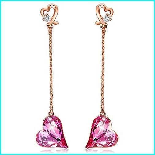 贅沢 CDE Rose Gift Gold Swarovski Plated Embellished Plated with Crystals from Swarovski Women Earrings Studs Pink Heart Fashion Jewelry Gift for Her, 利根郡:da276154 --- taxreliefcentral.com