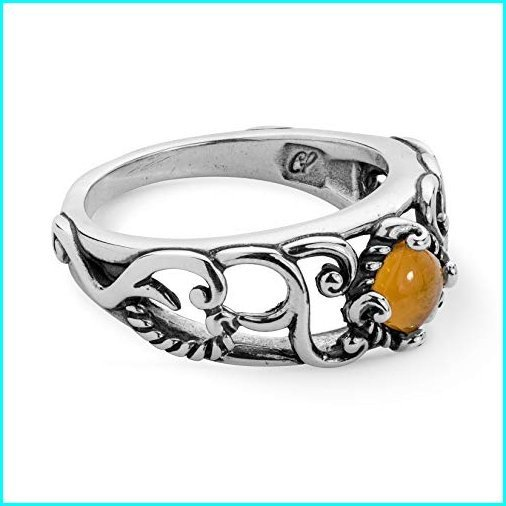 最初の  Carolyn Pollack Sterling Silver Yellow Citrine Gemstone Band Ring Size 9, アクセサリーPePe cdcb2028