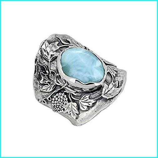上品な YoTreasure 925 Sterling Silver Oval Larimar Gemstone Classic Ring Designer Jewelry Gift, ヤツカソン 11be1bbe