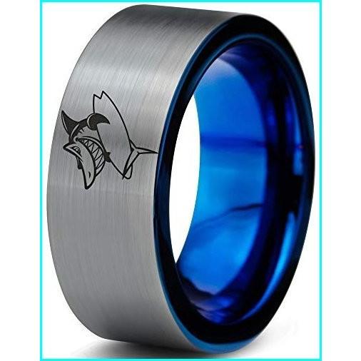 激安 Zealot Jewelry Tungsten Surfing Shark Fish Grinning Band Ring 8mm Men Women Comfort Fit Blue Flat Cut Brushed Gray Polished Size 8.5, 越前名産工房 7c0dcfd1