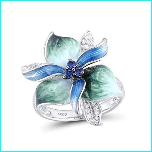 【おトク】 Santuzza 925 Sterling Silver Ring Charming Blue Green Flower White Cubic Zirconia Fashion Jewelry Handmade Enamel (8), HEMP NAVI e2833a2c