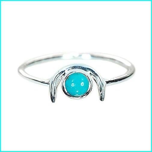 人気商品の Pura Vida Silver Crescent Ring w/Turquoise Stone - .925 Sterling Silver, Brass Base - Size 8, TROPHY(トロフィー) 03399eef