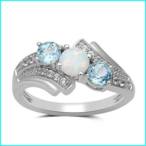 お待たせ! Jewelili Sterling Silver 5mm Created Opal, 4mm Swiss Blue Topaz and Created White Sapphire 3 Stone Bypass Ring, Size 7, わが街とくさん店 52c68ac9