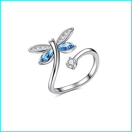 超格安一点 AOBOCO Blue Dragonfly 925 Sterling Silver Rings for Women Girls, Swarovski Element Adjustable Open Wrap Rings Light Sapphire Jewelry Gift for Mom Girl, きものネットショップ京の舞姿 683b3d8e