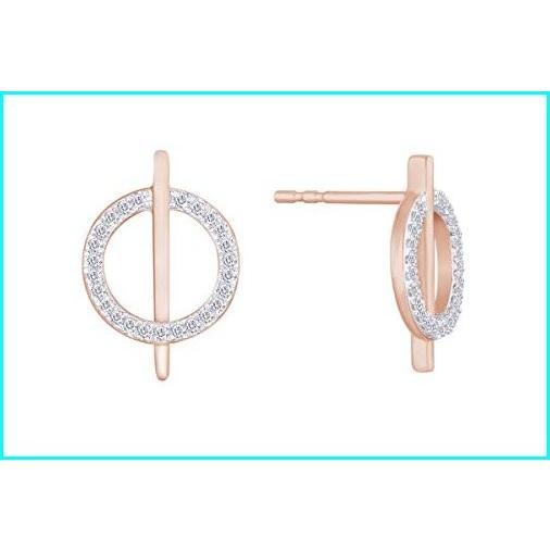 経典 Diamond Circle Bar Stud Earrings in 10K Rose Gold, インテリアshopラグジュエル 143278c2
