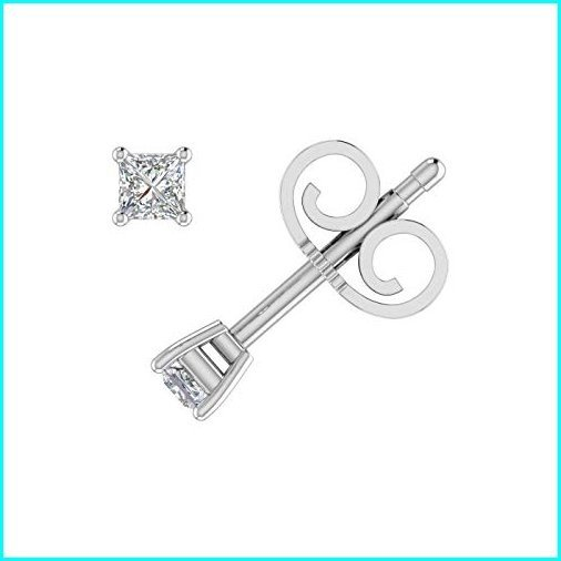 【保存版】 1/10 Carat Princess Cut Diamond Stud Earrings in 14K White Gold, Shop Online DOBLE 9afab54b