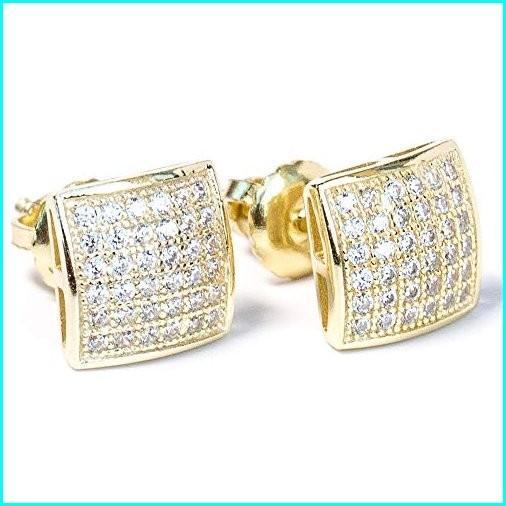 衝撃特価 Small 14k Gold Plated 925 Sterling Silver Screw Back CZ Hiphop Earrings, 五和町 fa599639