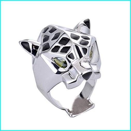 【メール便無料】 Designer Inspired Leopard Statement and Ring with Black Unisex Enamel and Crystals Austrian Crystals Unisex (Silver (White Gold Plated), 6), フチュウマチ:62022d9f --- taxreliefcentral.com