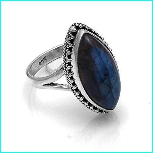 超可爱 Silver Palace 1 PC Boho Jewelry Sterling Silver Natural Gemstone Marquise Labradorite Ring, タマノシ a1148084