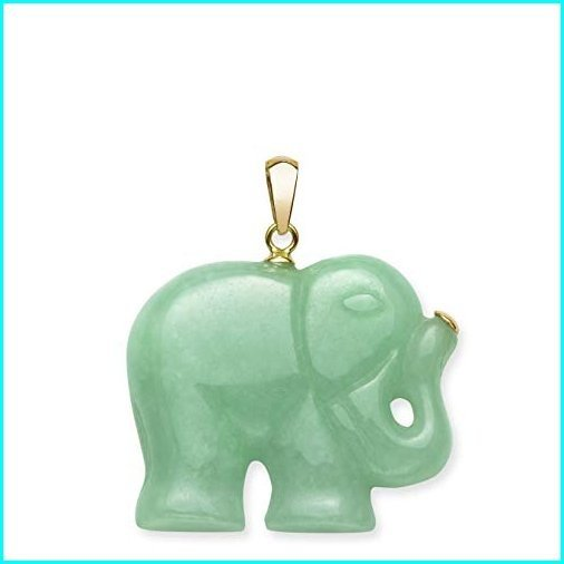 【完売】  14k Yellow Gold Natural Jade Elephant Necklace Pendant Charm, no chain, 良品街 00cbc50e