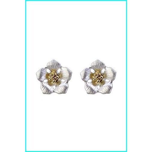人気ショップ Sharing Happiness Silver Jasmine Gold Plated Stud Earrings for Women, コスメイト ほの香 b399cc49