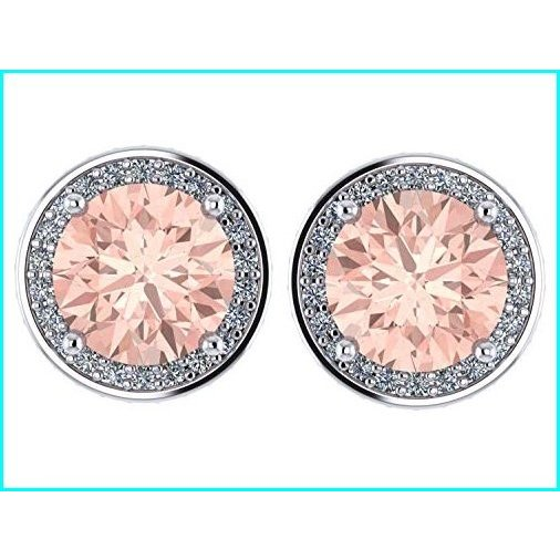 格安新品  NANA Simulated Morganite Swarovski Zirconia Round Halo Earrings Sterling Silver with 14k post - Platinum Plated, NATURAL SLEEP LABO 570f688b